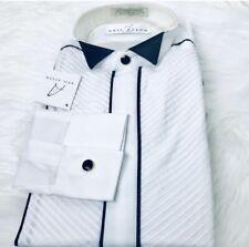 NEIL ALLYN RARE White Black Trimmed Wingtip Pleated Collar Tuxedo Shirt S 34/35
