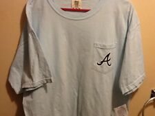 Atlanta Braves Light Blue XL T-Shirt with pocket- Chop On - Chambray NEW