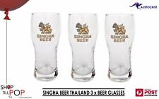 Singha 3 x BEER GLASSES Vintage 1970's Mint Con MAN CAVE RARE Thailand Party