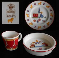 Tiffany & Co~TIFFANY TOYS 3  PC. CHILD'S PORCELAIN DISH SET~Plate, Cup, Bowl