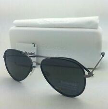 POLAROID Sunglasses PLD 1020/S R80 Y2 56-15 Black & Ruthenium Aviator w/ Grey