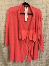 NWT Tribal Brand Cardigan Open Front Lightweight Size XL Extra Large Pink LACY