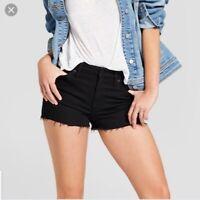 Universal Thread High-Rise Shortie Jean Shorts Womens Black Raw Hem Stretch NWT
