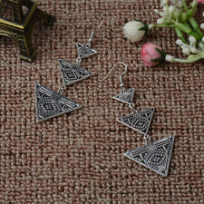 Dangle Hook Earrings Gypsy Bohemian Women Fashion Antique Silver Boho Triangle
