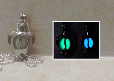 GLOW IN THE DARK Sea Turtle Double Sided Green & Blue Silver Charm Necklace