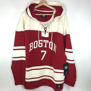 47 Brand Boston University Charlie McAvoy Hockey Hoodie Sweatshirt Red Men's XL