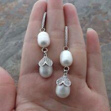 "2.3"" White Rice Pearl CZ Earrings"