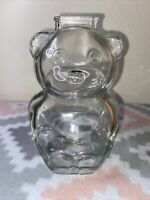 Vintage Anchor Hocking Clear Glass Teddy Bear Bank '70's Clear  Molded Glass