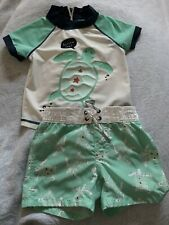 Toddler Boys Baby Gap Swim Suit Trunks & SS Rash Guard Set 12-18M Green Turtle