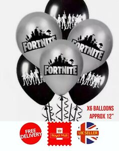 Fortnite Gamer Birthday Latex Balloons X6 Battle Royal Party Decorations