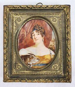 Antique Miniature Dog Painting in Gold Frame Attr. CAROLINE SCHETKY RICHARDSON