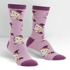 Sock It To Me Womens Crew Socks Fox Trot Purple Orange Novelty Footwear New
