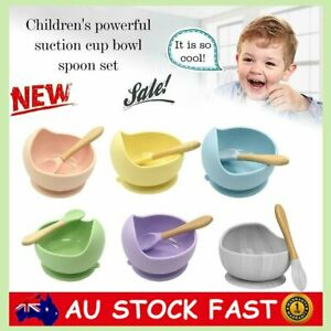 Silicone Suction Bowl With Spoons Set Non-slip For Baby & Toddler ON