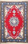Vintage Wool/ Silk RED Geometric Nain Area Rug Hand-knotted Oriental 2x3 Carpet