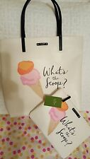 """Kate Spade What's the Scoop Ice Cream Tote Bag Bon Shopper & """"FREE"""" Gia Pouch"""