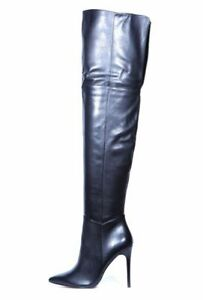 Michelle Keegan @ Very Over Knee Leather Black High Heel Boots UK 5