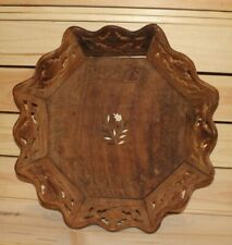 Vintage hand carved floral wood bowl platter