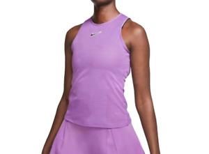 NikeCourt Tennis Tank Top Womens Medium New Open Back Slim Fit Purple Training