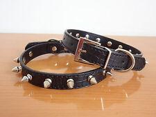 "NEW Gator Pu Leather Spiked Studded Dog Collar Puppy Dog Cat Pet Collar 8-18"""