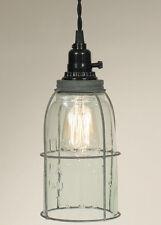 Barn Roof Half Gallon Caged Mason Jar Open Bottom Industrial Pendant Light Lamp