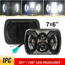 "Black H5054 H6054 7x6"" 5x7"" LED Headlight for Jeep Wrangler YJ Cherokee XJ Ford"