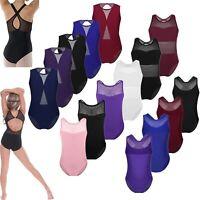 Kids Girls Ballet Dance Dress Gymnastics Leotard Mesh Splice Dancewear Costume