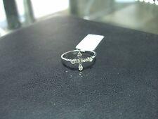 FINE THIN 14 KARAT WHITE GOLD DIAMOND RING CROSS NEW SIZE 7.5 WOW 0.20 CT TOTAL!