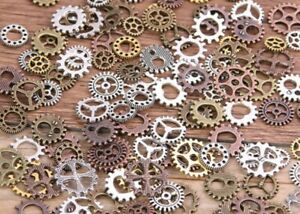 55pcs Cogs and Gears Metals Bronze Silver Gold Steampunk Clock Hand Charm Mix