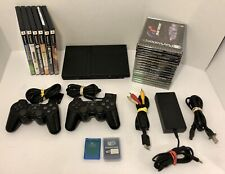 Sony PlayStation 2 PS2 Slim Console w/ 2 Controller, 19 Games SCPH-70012 Tested
