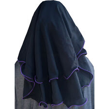 Hayaa 3 Layers Fluttery Butterfly Black Saudi Niqab Hijab - PURPLE TRIM