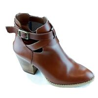 Womens Size 7M Reba KC Brown Leather Strappy Booties Boots Almond Toe Block Heel