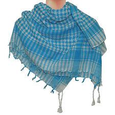 Pañuelo palestina turquesa-blanco 100x100cm algodón Arafat cuadros cuello