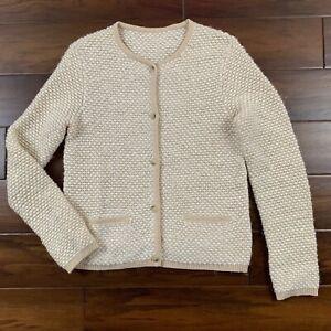 Escada Women's Size Small Cream Beige Textured Button Up Knit Cardigan Sweater