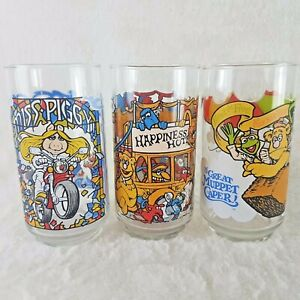 The Great Muppet Caper Glass Set 3 Vintage 1981 McDonalds Glass Cups