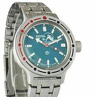 Vostok Amphibian Watch 420059 Scuba Dude Military Diver Russian Automatic Blue