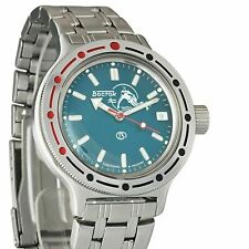 Vostok Amphibian Watch 420059 Scuba Dude Military Diver Russian Automatic Blue