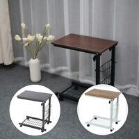 US Stock Home Table Wheel Mobile Computer Desk Height Adjustable Storage Basket