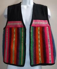 Vtg SPIRIT OF PERU 100% Wool Black Colorful Tapestry Open Front Vest