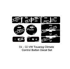2004 – 2009 Volkswagen Touareg Climate Control Matte Black Decals Sticker Set.