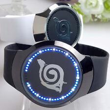 Hot Anime Naruto Konoha Logo Led Touch Screen Electronic Watch Glass Wristwatch