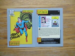 1991 DC UNIVERSE 1 GOLDEN AGE SUPERMAN CARD # 16 SIGNED JERRY ORDWAY ART, POA