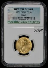 1986 G$10 1/4 oz American Gold Eagle - First Year of Issue - NGC MS 69 SKU-Y1229