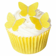 14 PRE-CUT EDIBLE Small Vivid Yellow Butterflies wafer decorations topper