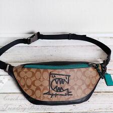 NWT Coach 2525 Warren Belt Bag In Signature Canvas With Rexy By Guang Yu