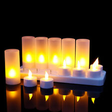 12PCS Flameless LED Candles Rechargeable Tea Lights Flickering Wedding Decor