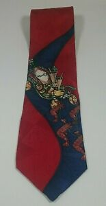 100/% silk tie red looks like bacon and toast on a plate food necktie