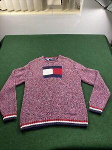 Vintage 90s Mens Tommy Hilfiger Big Flag Logo Sweater Knitwear Longslevee Crewneck Sz Small