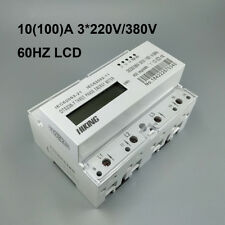 10(100)A 3*220V/380V 60HZ three phase Din rail KWH Watt hour energy meter LCD