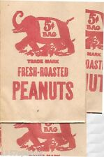 3 Old Circus Fresh Roasted Peanuts Bag Vintage 5 cents Elephant Image Peanut NOS