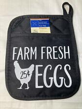 New listing Oven Mitt Farm fresh eggs Farmhouse Potholder pad with pocket